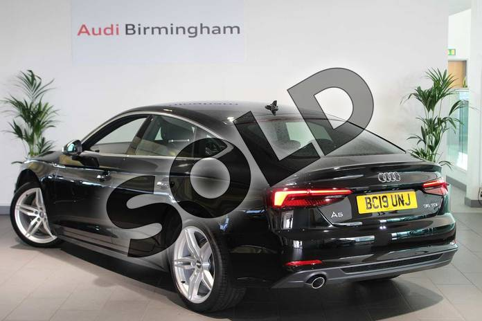 Image three of this 2019 Audi A5 Diesel Sportback 35 TDI S Line 5dr S Tronic in Myth Black Metallic at Birmingham Audi