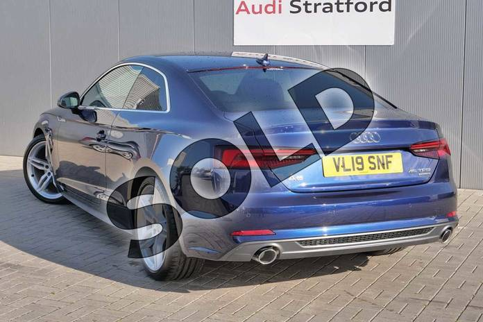 Image three of this 2019 Audi A5 Coupe 45 TFSI Quattro S Line 2dr S Tronic in Navarra Blue Metallic at Stratford Audi