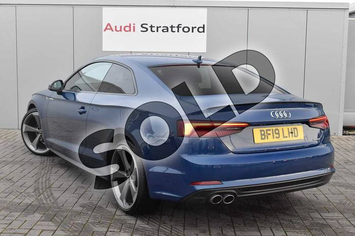Image three of this 2019 Audi A5 Diesel Coupe Diesel 40 TDI Quattro Black Edition 2dr S Tronic in Ascari Blue Metallic at Stratford Audi