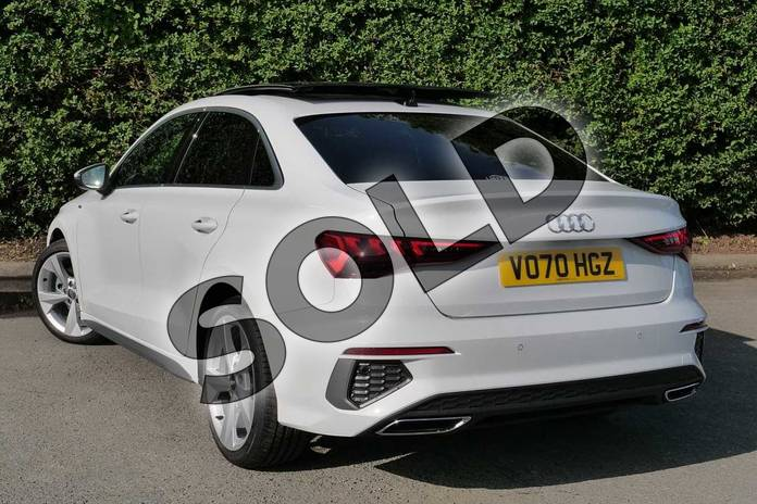 Image three of this 2020 Audi A3 Saloon 35 TFSI S line 4dr in Glacier White Metallic at Worcester Audi