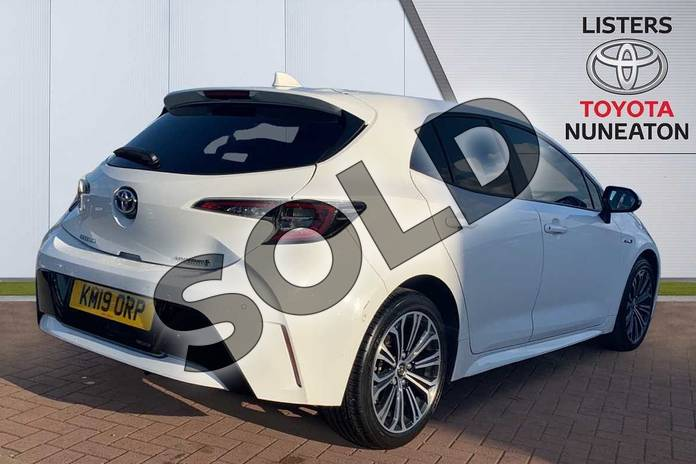 Image two of this 2019 Toyota Corolla Hatchback 1.8 VVT-i Hybrid Design 5dr CVT in White at Listers Toyota Nuneaton