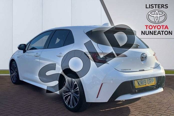 Image four of this 2019 Toyota Corolla Hatchback 1.8 VVT-i Hybrid Design 5dr CVT in White at Listers Toyota Nuneaton