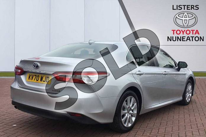 Image two of this 2020 Toyota Camry Saloon 2.5 VVT-i Hybrid Design 4dr CVT in Silver at Listers Toyota Nuneaton