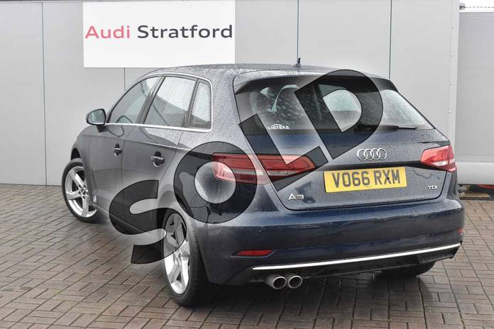 Image three of this 2016 Audi A3 Diesel Sportback 2.0 TDI Sport 5dr S Tronic in Cosmos blue, metallic at Stratford Audi
