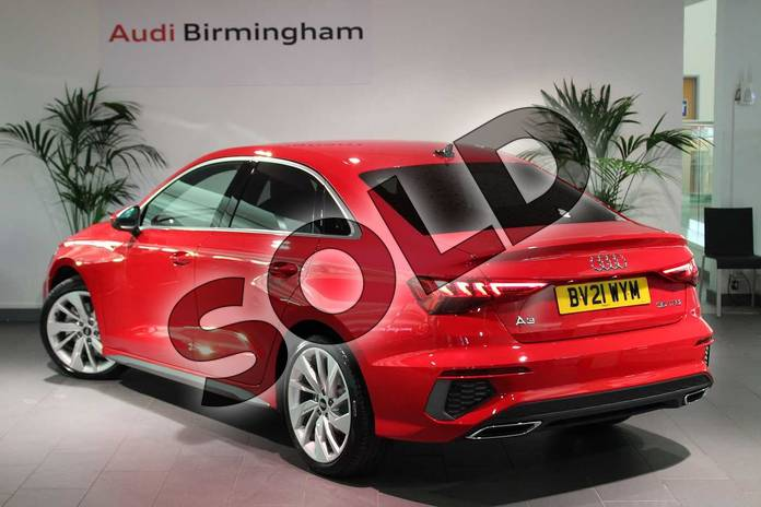 Image three of this 2021 Audi A3 Saloon 35 TFSI S line 4dr S Tronic in Tango Red Metallic at Birmingham Audi