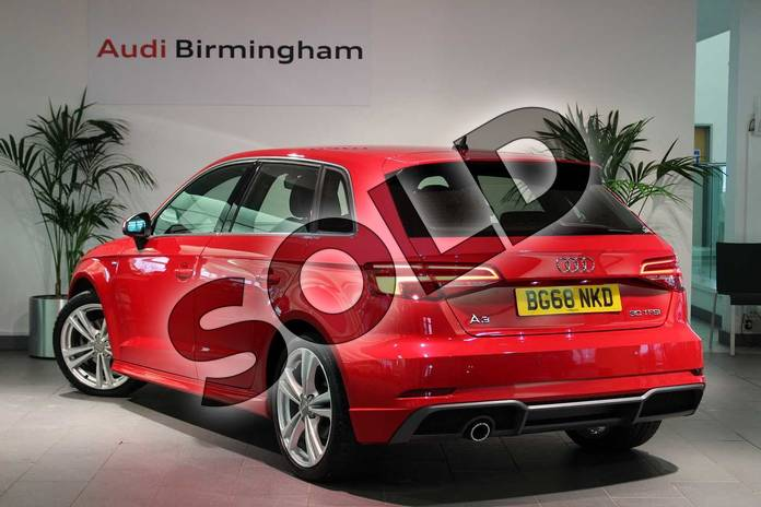 Image three of this 2018 Audi A3 Sportback 30 TFSI 116 S Line 5dr S Tronic in Tango Red Metallic at Birmingham Audi